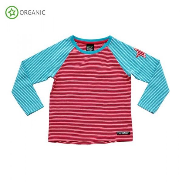 Villervalla langärmliges T-shirt rhubarb/riviera