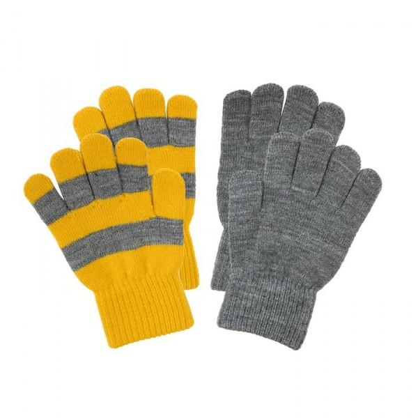 Villervalla gestrickte Fingerhandschuhe als Set mustard und grey melange