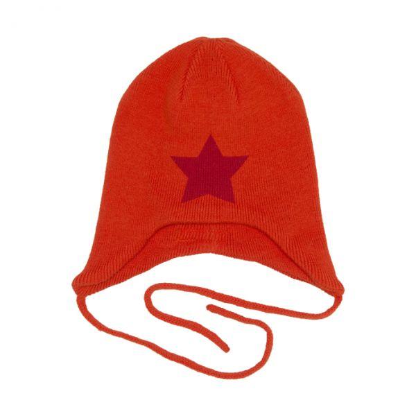VILLERVALLA Knitted hat with string ORANGE