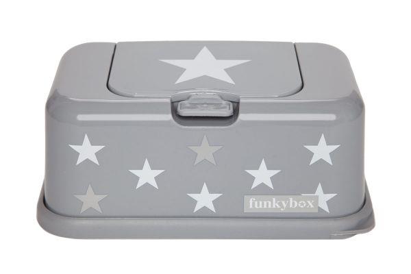 Funkybox Feuchttücherbox für den Wickeltisch oder die Toilette in grau mit Sternen