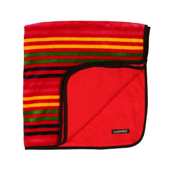 VILLERVALLA reversible blanket DRK TOMATO STRIPE - one size
