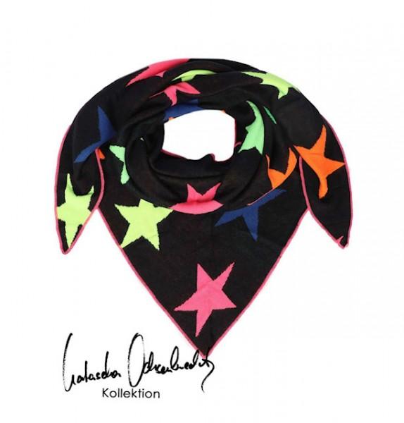 Zwillingsherz Dreieckstuch schwarz Sterne neon Schal