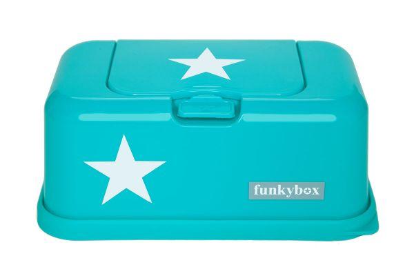 Funkybox Feuchttücherbox für den Wickeltisch oder die Toilette in türkis mit weißen Sternen