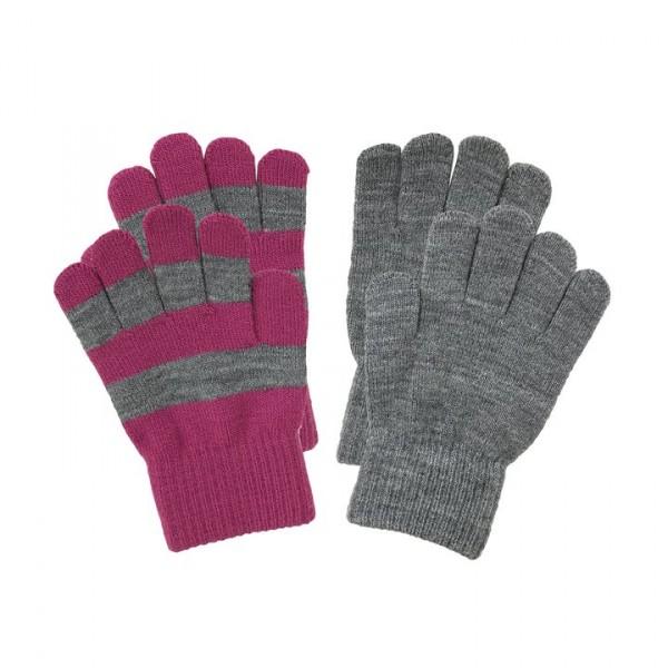 Villervalla gestrickte Fingerhandschuhe als Set smoothie und grey melange