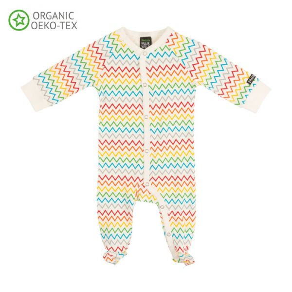 Villervalla Soft long sleeved pyjamas rainbow zigzag with foot, for babies, in comfortable tricot