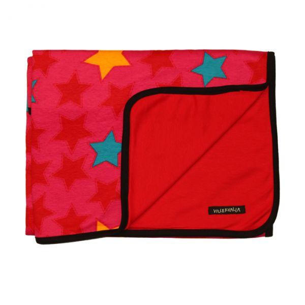 VILLERVALLA reversible blanket STARS DRK TOMATO