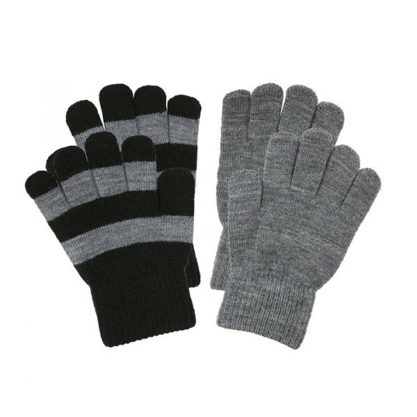 Villervalla gestrickte Fingerhandschuhe als Set night und grey melange