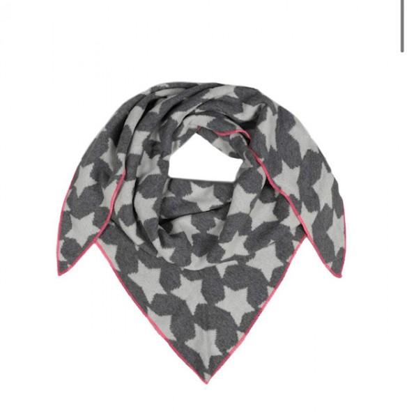 Zwillingsherz Dreieckstuch Sterne grau mit pinkem Rand Schal
