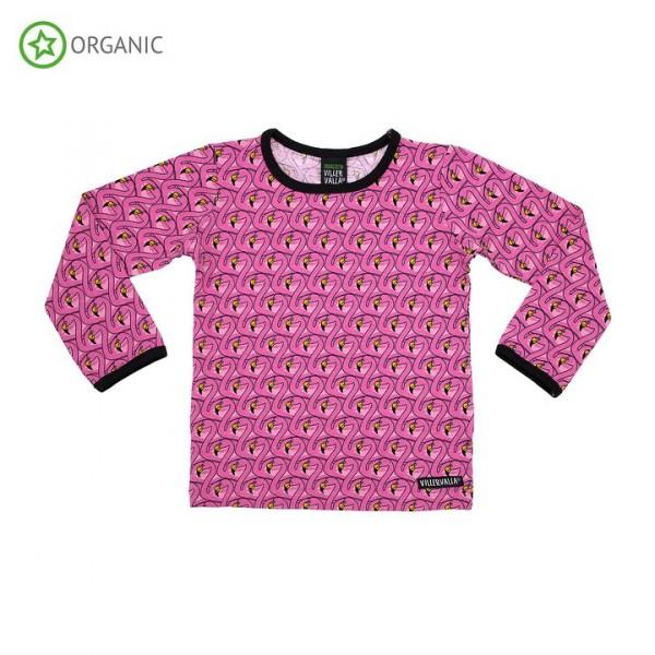 Villervalla langärmliges T-shirt flamingo
