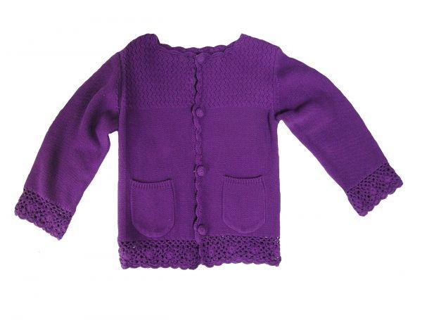 Snoozy Girls L/S Cardigan - Purple