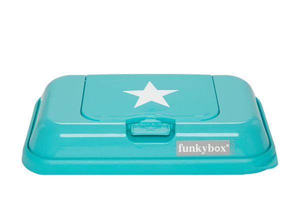 Funkybox to go Feuchttücherbox für unterwegs in türkis mit weißen Sternen