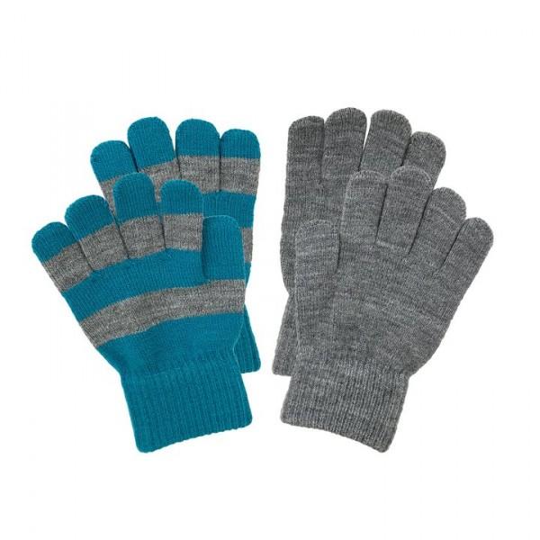Villervalla gestrickte Fingerhandschuhe als Set atlantic und grey melange