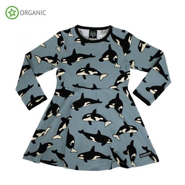Villervalla langärmliges Schwingkleid whale