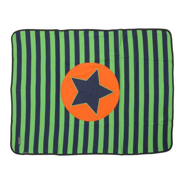 VILLERVALLA Soft tricot blanket. Navy/Basil