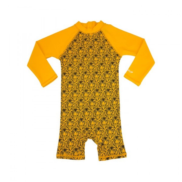 Villervalla UV-Overall tiger/mango mit 50+ Schutz