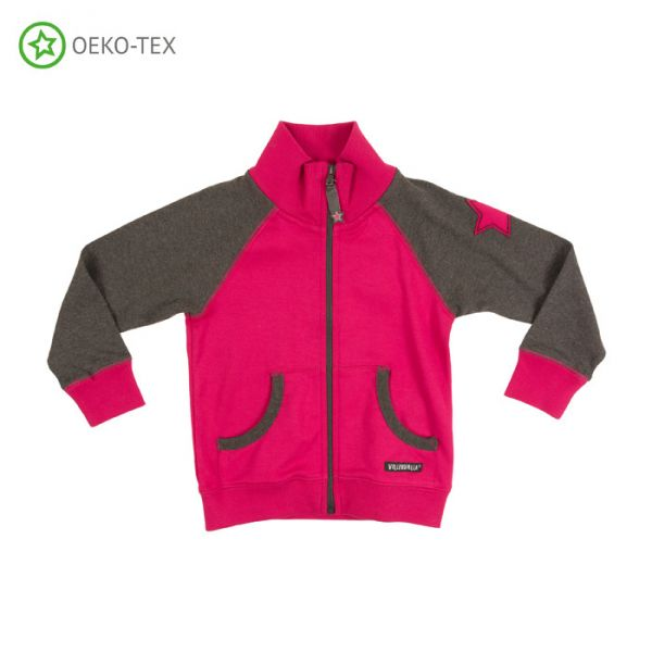 Villervalla Soft tricot jacket cranberry with zipper and cuffs