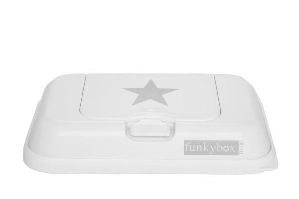 Funkybox to go Feuchttücherbox für unterwegs in weiß mit grauen Sternen