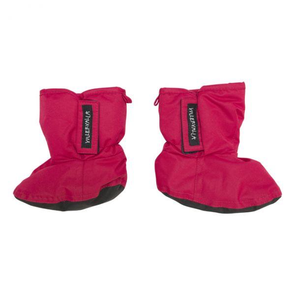 VILLERVALLA Waterproof (8000mm) booties with fleece lining and reinforcement under foot Drk cranberr