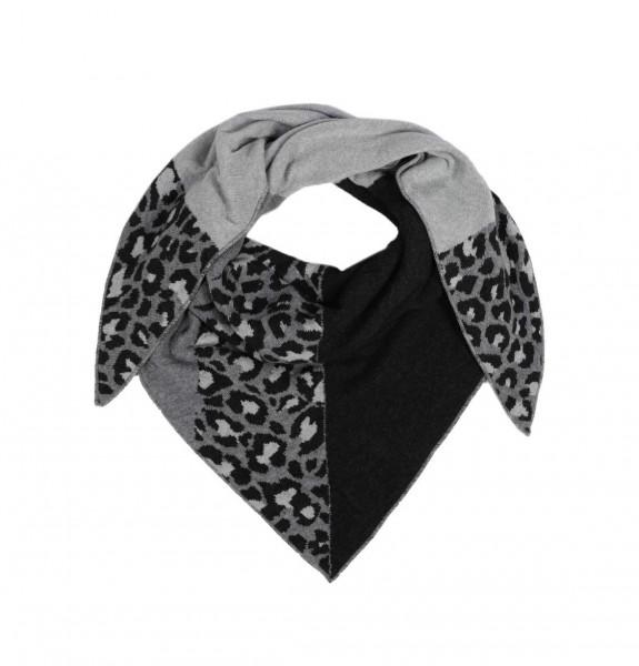 Zwillingsherz Dreieckstuch Leomuster schwarz/grau Schal