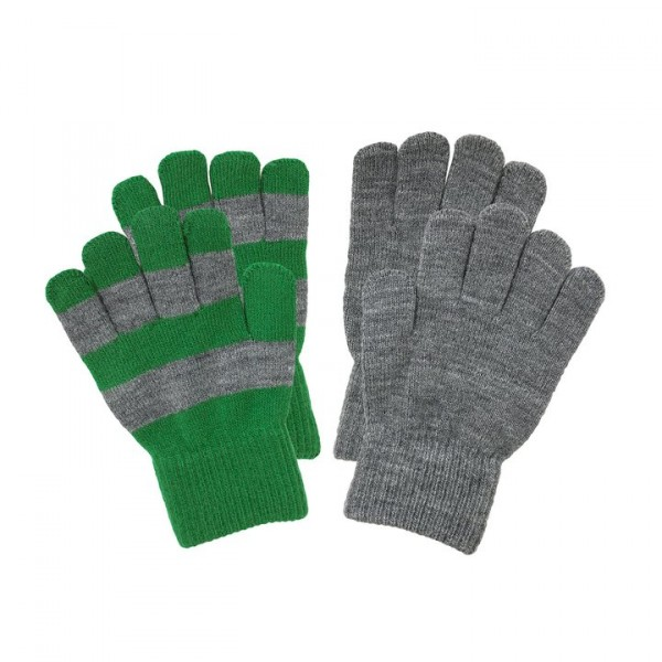 Villervalla gestrickte Fingerhandschuhe als Set clover und grey melange
