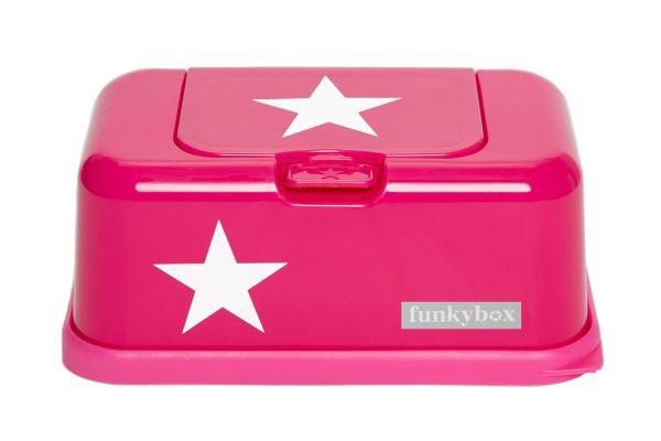 Funkybox Feuchttücherbox für den Wickeltisch oder die Toilette in pink mit weißen Sternen